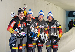 19.01.2020, Olympia Eiskanal, Innsbruck, AUT, BMW IBSF Weltcup Bob und Skeleton, Igls, Bob Viersitzer, Herren 2. Lauf, im Bild zweiter Platz Pilot Johannes Lochner mit Florian Bauer, Marc Rademacher, Christian Rasp (GER) // second Placed Pilot Johannes Lochner with Florian Bauer Marc Rademacher Christian Rasp of Germany reacts after their 2nd run of four-man Bobsleigh competition of BMW IBSF World Cup at the Olympia Eiskanal in Innsbruck, Austria on 2020/01/19. EXPA Pictures © 2020, PhotoCredit: EXPA/ Peter Rinderer