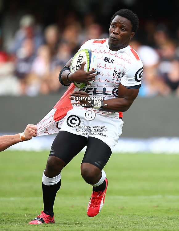 DURBAN, SOUTH AFRICA - APRIL 04:  Lwazi Mvovo of the Cell C Sharks during the Super Rugby match between Cell C Sharks and Crusaders at Growthpoint Kings Park on April 04, 2015 in Durban, South Africa. (Photo by Steve Haag/Gallo Images)