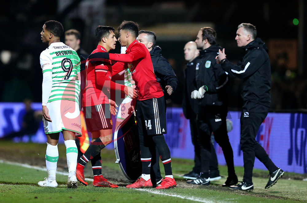 Alexis Sanchez of Manchester United is replaced by Jesse Lingard - Rogan/JMP - 26/01/2018 - FOOTBALL - Huish Park - Yeovil, England - Yeovil Town v Manchester United - FA Cup Fourth Round.
