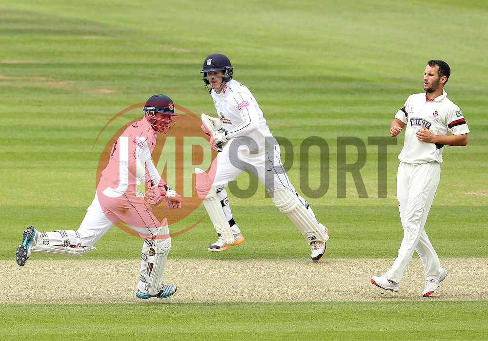 Hampshire's Sean Terry and Hampshire Captain James Adams  take a run off Somerset's Lewis Gregory's bowling - Photo mandatory by-line: Robbie Stephenson/JMP - Mobile: 07966 386802 - 22/06/2015 - SPORT - Cricket - Southampton - The Ageas Bowl - Hampshire v Somerset - County Championship Division One