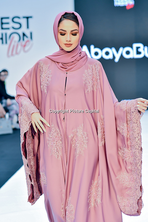 AbayaButh showcases its latest collection at Modest Fashion Live at Olympia London on 14 April 2019, London, UK.