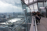 London skyline seen from the terrace of the Sky Garden at the top of the Walkie Talkie building in the City of London.