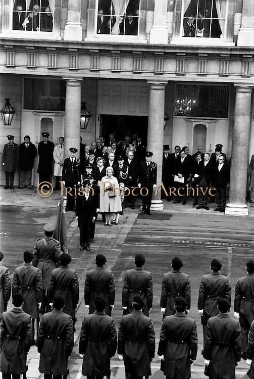 President Patrick Hillery, his wife Maeve, son John and daughter Vivienne leave Dublin Castle after his inauguration as sixth President of Ireland.<br />