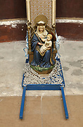 Statue of the Virgin and child enthroned, known as Notre-Dame de Walsingham, copy of the Our Lady of Walsingham statue from Norfolk, England, in the Basilique Notre-Dame-de-l'Immaculee-Conception or Basilica of Notre-Dame de Boulogne, a Roman Catholic cathedral built 1827-63 in Neoclassical style by Benoit-Agathon Haffreingue, in Boulogne, Pas de Calais, France. A copy of the Our Lady of Boulogne statue was taken to Walsingham and is now housed again in Boulogne. The cathedral is listed as a national monument. Picture by Manuel Cohen