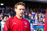 Nacho Monreal of Arsenal (18) walks out onto the pitch during the Premier League match between Huddersfield Town and Arsenal at the John Smiths Stadium, Huddersfield, England on 9 February 2019.