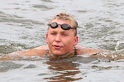 13.08.2014, Regattastrecke Gr&uuml;nau, Berlin, GER, SPO, LEN, Schwimm EM 2014, Freiwasser Wettbewerbe, 5 KM M&auml;nner, im Bild Rob Muffels (SC Magdeburg) schlaegt vorruebergehend mit einer neuen Bestzeit an // SPO during the men's 5 km Open water swimming of the LEN 2014 European Swimming Championships at the Regattastrecke Gr&uuml;nau in Berlin, Germany on 2014/08/13. EXPA Pictures &copy; 2014, PhotoCredit: EXPA/ Eibner-Pressefoto/ Hundt<br /> <br /> *****ATTENTION - OUT of GER*****