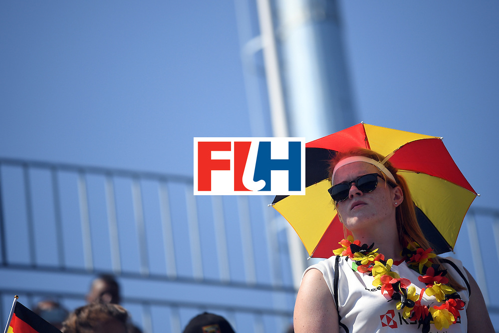 A Germany fan attends the women's semifinal field hockey Netherlands vs Germany match of the Rio 2016 Olympics Games at the Olympic Hockey Centre in Rio de Janeiro on August 17, 2016. / AFP / MANAN VATSYAYANA        (Photo credit should read MANAN VATSYAYANA/AFP/Getty Images)