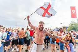 Fans celebrate as Kieran Trippier scores from a free kick to put England into the lead - Ryan Hiscott/JMP - 11/07/2018 - FOOTBALL - Ashton Gate - Bristol, England - England v Croatia, World Cup Village at Ashton Gate, FIFA World Cup Semi Final 2018