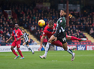 Jake Jervis of Plymouth Argyle (14) scores his team's 1st goal to make it 1-0 during the Sky Bet League 2 match at Bootham Crescent, York<br /> Picture by Russell Hart/Focus Images Ltd 07791 688 420<br /> 14/11/2015
