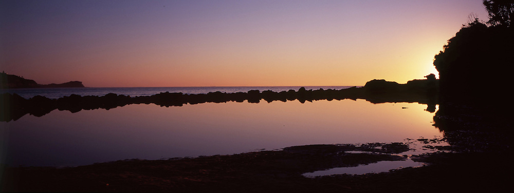 Daybreack over the Avoca Rockpool gives a perfect reflection
