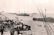 The British fleet off Portsmouth. Portsmouth Is the oldest Royal Navy base and the location of the Royal Naval Dockyard where HMS 'Dreadnought' was built in 1906.
