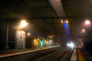Scary Railway Stations at night. About 9:30 Outbound train approaches the platform at Macaulay railway station under heavey fog. The station is built under the CityLink Tollway. Pic By Craig Sillitoe CSZ/The Sunday Age/The Age iPad App.28/06/2011 This photograph can be used for non commercial uses with attribution. Credit: Craig Sillitoe Photography / http://www.csillitoe.com<br />