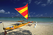 Outrigger Sailing Canoe, Kailua Beach, Kailua, Oahu, Hawaii, USA<br />