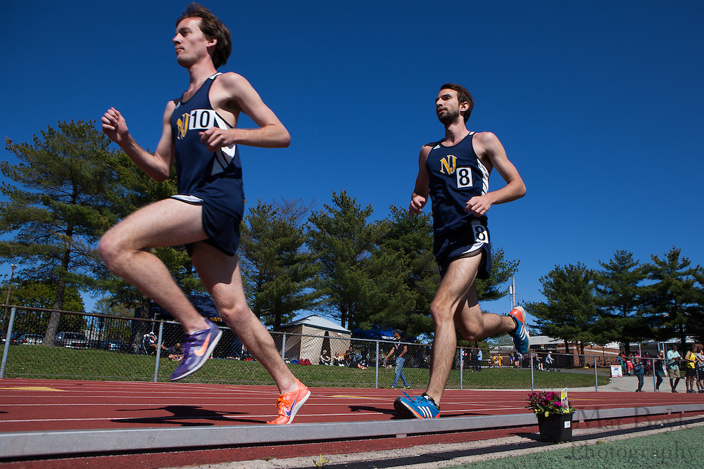The College of New Jersey's Dylan Lynch (10) and John Arnold (8) compete in the men's 10000 meter at the NJAC Track and Field Championships at Richard Wacker Stadium on the campus of  Rowan University  in Glassboro, NJ on Saturday May 4, 2013. (photo / Mat Boyle)