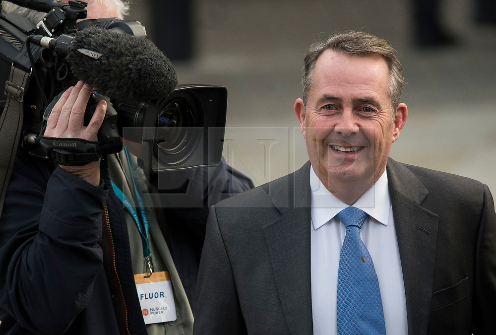 © Licensed to London News Pictures. 04/10/2017. Manchester, UK. Secretary of State for International Trade LIAM FOX at Conservative Party Conference. The four day event is expected to focus heavily on Brexit, with the British prime minister hoping to dampen rumours of a leadership challenge. Photo credit: Ben Cawthra/LNP