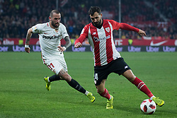 January 16, 2019 - Sevilla, Andalucia, Spain - Aleix Vidal of Sevilla FC and Balenciaga of Athletic Club competes for the ball during the Copa del Rey match between Sevilla FC v Athletic Club at the Ramon Sanchez Pizjuan Stadium on January 16, 2019 in Sevilla, Spain  (Credit Image: © Javier MontañO/Pacific Press via ZUMA Wire)