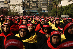 Hezbollah (or Hezbollah) militants and supporters gather to mark 'Ashura' celebration in the southern suburb of Beirut, Lebanon, on October 12, 2016. Ashura (or Achoura) is the 10th day of the day of Muharram in the Islamic calendar. For shiite Muslims, it marks the death of Hussein ibn Ali, the grandson of Propher Muhammad at the Battle of Karbala in 680. Photo by Balkis Press/ABACAPRESS.COM