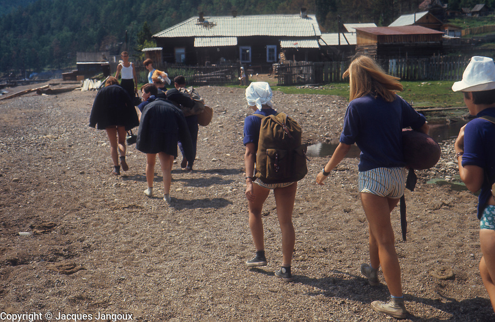 USSR (Union of Soviet Socialist Republics) 1968. Siberia. Hikers near Lake Baikal.