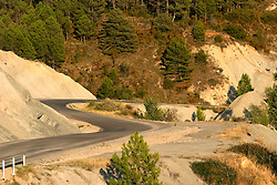 SPAIN ARAGON ANZANIGO 25AUG05 - Twisty road to Jaca cuts through landscape near Anzanigo in rural Aragon, on the road to Jaca...jre/Photo by Jiri Rezac..© Jiri Rezac 2005..Contact: +44 (0) 7050 110 417.Mobile:  +44 (0) 7801 337 683.Office:  +44 (0) 20 8968 9635..Email:   jiri@jirirezac.com.Web:     www.jirirezac.com..© All images Jiri Rezac 2005 - All rights reserved.