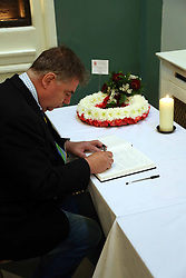 © Licensed to London News Pictures. 24/05/2013. Woolwich, United Kingdom. A book of condolence has been opened at Woolwich Town Hall, yards from the scene where Lee Rigby was murdered. Pictured here signed by a member of the public. It was earlier signed by the Mayor of Greenwich. Photo credit : Rob Powell/LNP