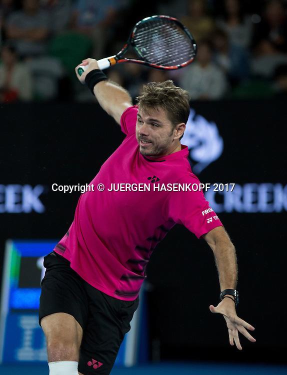 STAN WAWRINKA (SUI), einhaendige Rueckhand,Technik,<br /> <br /> Australian Open 2017 -  Melbourne  Park - Melbourne - Victoria - Australia  - 26/01/2017.
