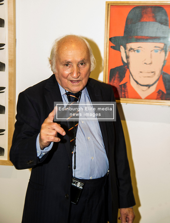 Pictured: 86 year old Richard Demarco has lost none of his enthusiasm of all works for art. He was still seeing new aspects of Beuy's work as the toured the exhibition. <br /> <br /> The Richard Demarco & Joseph Beuys A Unique Partnership exhibition examines the collaboration between the avant-garde gallerist and German post-war artist. The exhibition is open to the public between  30 July and 1 October 2016<br /> <br /> Ger Harley   EEm 28 July 2016