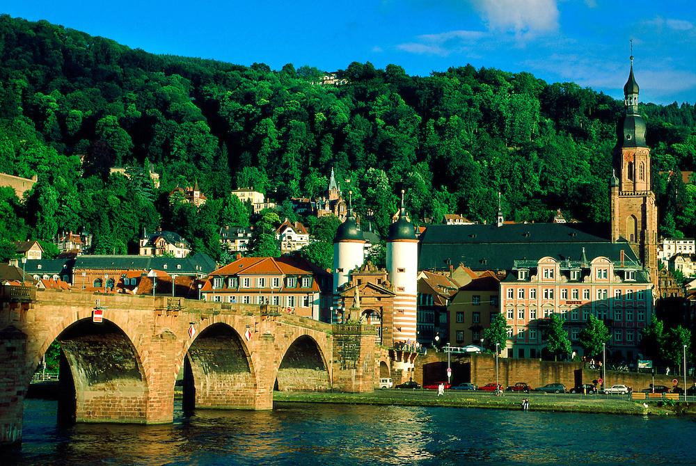 Bridge over the Neckar River (Schloss in background), Heidelberg, Germany