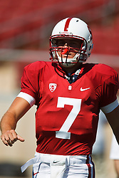 September 4, 2010; Stanford, CA, USA;  Stanford Cardinal quarterback Brett Nottingham (7) warms up before the game against the Sacramento State Hornets at Stanford Stadium.  Stanford defeated Sacramento State 52-17.