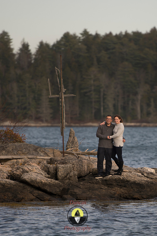 GREEN ISLAND, Boothbay Region, Maine  -  Liz Coburn and Tony. Family Portraiture. Photo by Roger S. Duncan - released for all purposes to file owner.