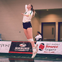 3rd year middle blocker, Emma Matheson (2) of the Regina Cougars during the Women's Volleyball home game on Thu Nov 15 at Centre for Kinesiology, Health & Sport. Credit: Arthur Ward/Arthur Images