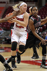 04 January 2015:  Taylor Stewart looks for a path to the lane past Mercedes Griffin during an NCAA MVC (Missouri Valley Conference) women's basketball game between the Southern Illinois Salukis and the Illinois Sate Redbirds at Redbird Arena in Normal IL
