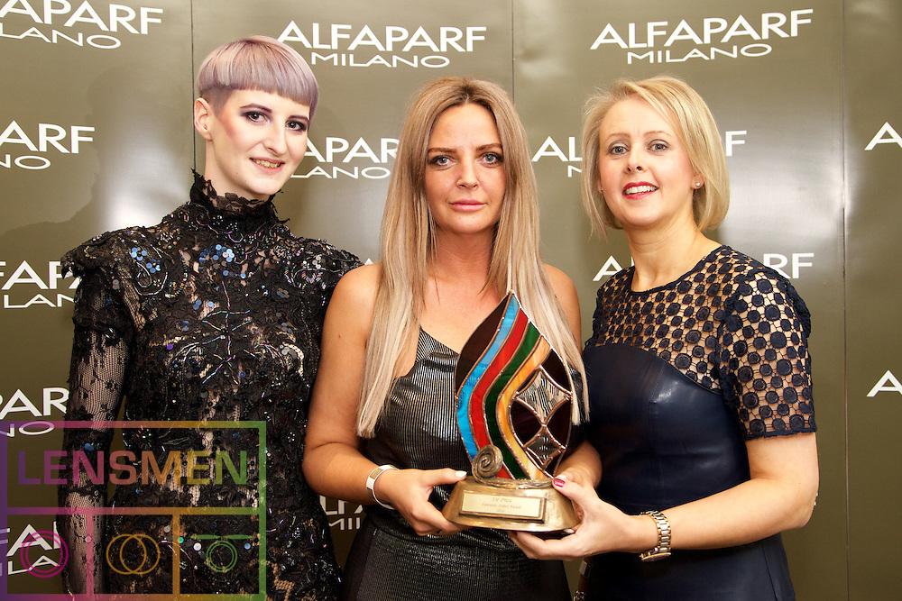 AMF Stylist.<br /> <br /> Tony Lee, Model<br /> Debbie Claffey, Winner, from Gravity Hair Lounge, Galway.<br /> Kathleen Conlon, Alfaparf Milano Ireland