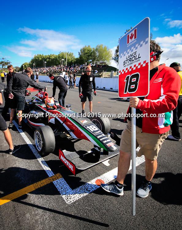 Lance Stroll on the grid. Toyota Racing Series, Manfeild Motorsport Park, Feidling, New Zealand. Sunday, 15 February, 2015. Photo: John Cowpland / www.photosport.co.nz