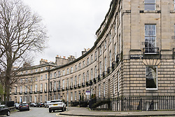 View of Georgian townhouses in street in New Town of Edinburgh, Scotland, United kingdom