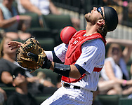 CHICAGO - JULY 02:  Kevan Smith #36 of the Chicago White Sox chases a foul pop fly against the Texas Rangers on July 2, 2017 at Guaranteed Rate Field in Chicago, Illinois.  The White Sox defeated the Rangers 6-5.  (Photo by Ron Vesely) Subject:   Kevan Smith