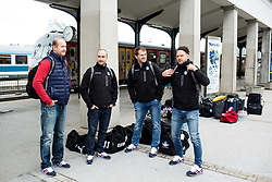 Nik Zupancic, head coach and his assistants Ales Burnik, Edo Terglav and Gaber Glavic during departure to Budapest of Slovenian Ice Hockey National Team, on April 17, 2017 in Railway station, Ljubljana, Slovenia. Photo by Vid Ponikvar / Sportida