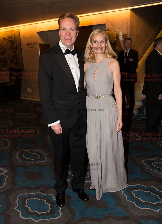 OSLO,  20131210:  Nobel Fredspris bankett på Grand Hotel. Børge Brende og kona  Kari Wesche. FOTO: TOM HANSEN