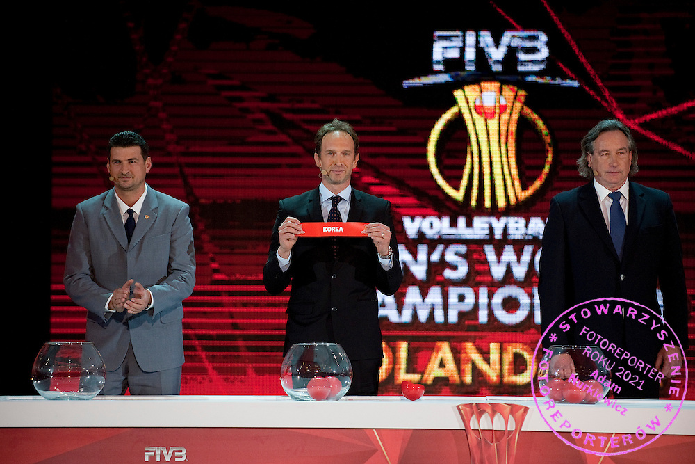 (L) Vladimir &quot;Vanja&quot; Grbic a former Serbian volleyball player (he won a gold medal in the 2000 Summer Olympics and a bronze medal in 1996 at Atlanta) and (2L) Italy&rsquo;s Lorenzo Bernardi - Volleyball Player of the Century (twice World Champion in 1990 and 1994) drew Korea and (2R) Tomasz Wojtowicz (former volleyball player from Poland, who was a member of the Poland Men's National Team that won the gold medal at the 1976 Summer Olympics) during the official draw of FIVB Volleyball Men&rsquo;s World Championship Poland 2014 at Congress Hall in Palace of Culture and Science in Warsaw on January 27, 2014.<br /> <br /> Poland, Warsaw, January 27, 2014<br /> <br /> Picture also available in RAW (NEF) or TIFF format on special request.<br /> <br /> For editorial use only. Any commercial or promotional use requires permission.<br /> <br /> Mandatory credit:<br /> Photo by &copy; Adam Nurkiewicz / Mediasport