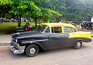 Two-tone car in Moron, Ciego de Avila, Cuba.