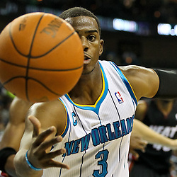 November 5, 2010; New Orleans, LA, USA; New Orleans Hornets point guard Chris Paul (3) scrambles for a loose ball during the second quarter against the Miami Heat at the New Orleans Arena. Mandatory Credit: Derick E. Hingle