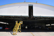 Israel, Ben-Gurion international Airport maintenance working in a maintenance hanger