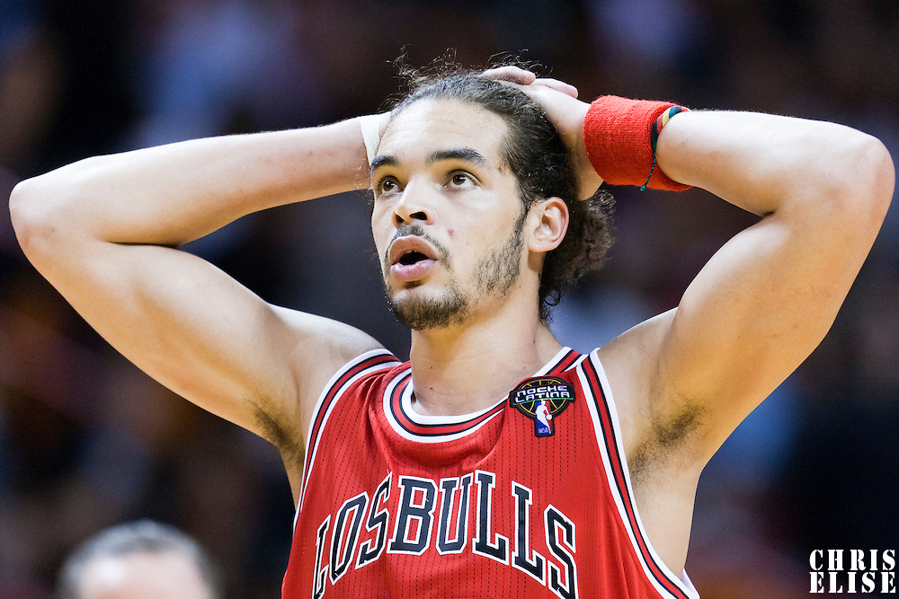 06 March 2010: Chicago Bulls center Joakim Noah (13) reacts during the Chicago Bulls 87-86 victory over the Miami Heat at the AmericanAirlines Arena, Miami, Florida, USA.