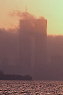 New York, New York City, Lower Manhattan Skyline sunrise,, Hudson River Twin Towers of the World Trade Center, designed by Minoru Yamasak