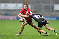 Sam Bedlow of Bristol United passes under pressure from Harrison Cully of Exeter Braves  - Mandatory by-line: Gary Day/JMP - 09/09/2017 - RUGBY - Sandy Park Stadium - Exeter, England - Exeter Braves v Bristol United - Aviva A League