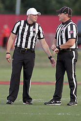 02 September 2017:   Matt Packowski and Steve Gfell discuss some signals during the Butler Bulldogs at  Illinois State Redbirds Football game at Hancock Stadium in Normal IL (Photo by Alan Look)