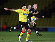 London - Wednesday, December 12th, 2008: Ross Jenkins of Watford and Matty Pattison of Norwich City during the Coca Cola Championship match at Vicarage Road, London. (Pic by Chris Ratcliffe/Focus Images)