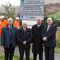 Work Starts on New £3.8m Gleneagles Station Link Road....15.11.13<br /> Pictured with from left, Cllr John Kellas, Cllr Ian Miller Council Leader Perth & Kinross Council, Jim Valentine Exec Director for Environment Services and Chic Haggart P&K Roads.<br /> Picture by Graeme Hart.<br /> Copyright Perthshire Picture Agency<br /> Tel: 01738 623350  Mobile: 07990 594431