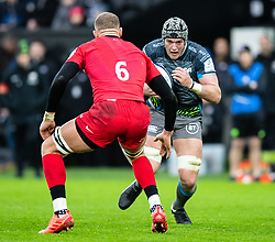 Dan Lydiate of Ospreys in action during todays match<br /> <br /> Photographer Simon King/Replay Images<br /> <br /> European Rugby Champions Cup Round 5 - Ospreys v Saracens - Saturday 11th January 2020 - Liberty Stadium - Swansea<br /> <br /> World Copyright © Replay Images . All rights reserved. info@replayimages.co.uk - http://replayimages.co.uk