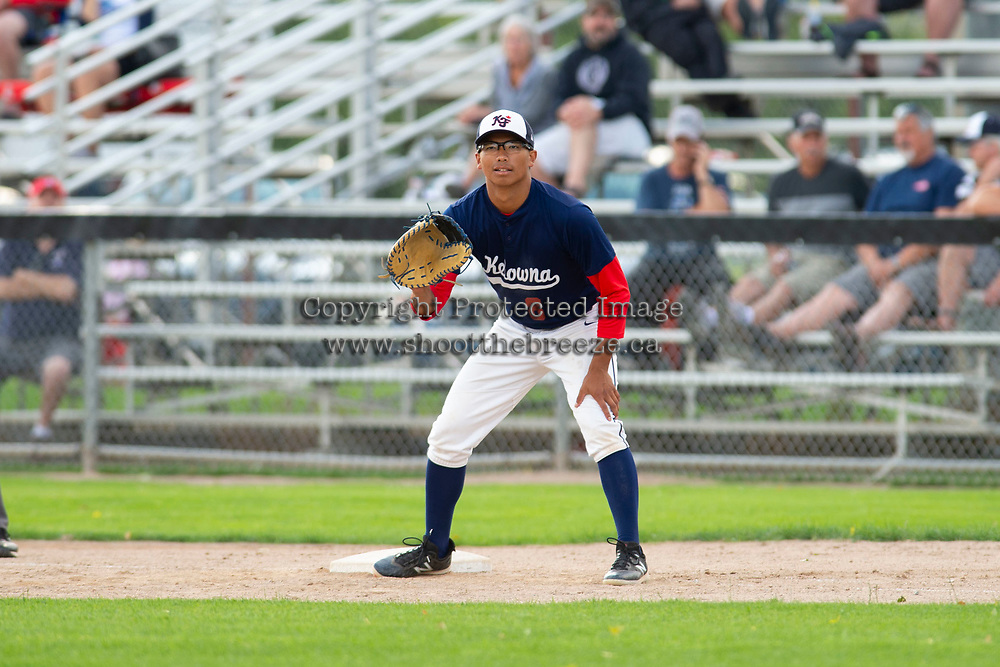 KELOWNA, BC - JULY 16:  James Shimashita #8 of the Kelowna Falcons stands at first base against the the Wenatchee Applesox at Elks Stadium on July 16, 2019 in Kelowna, Canada. (Photo by Marissa Baecker/Shoot the Breeze)
