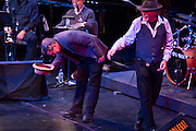 Brooklyn, NY - 18 January 2014. Art Spiegelman's Wordless, with words and pictures by Art Spiegelman, and music by Phillip Johnston. Johnston doffs his hat at the end of the performance.